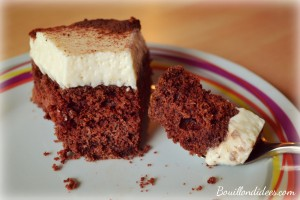 Bavarois poires chocolat sans GLO (gluten, lait, PLV, oeuf) vegan tofu soyeux coupe face Bouillondidees