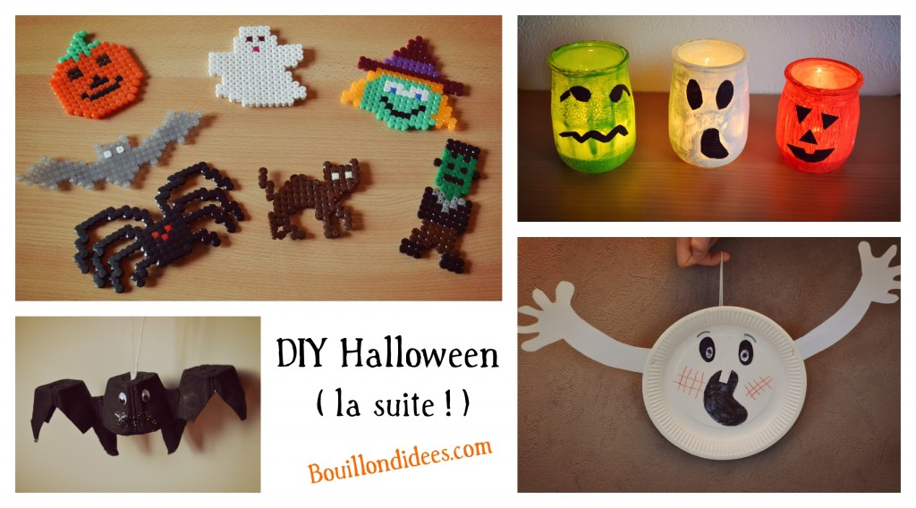 DIY loisirs créatifs activités manuelles spécial Halloween fantôme perles hama chauve souris, photophore Bouillondidees
