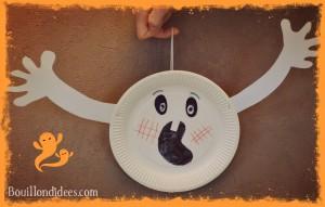Fantome avec assiette carton DIY loisirs créatifs activités manuelles spécial Halloween Bouillondidees