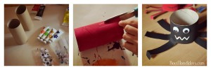 Monstres araignées rouleau papier toilette DIY Halloween montage Bouillondidees