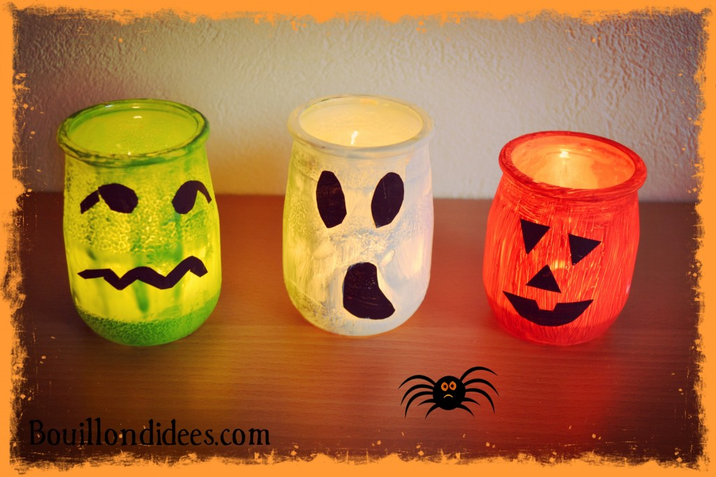 Monstres photophore lumignons fantome citrouille bougie DIY Halloween Bouillondidees