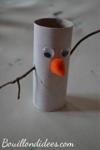 DIY Noël, bonhomme de neige Olaf reine des neiges en rouleau papier toilette montage Bouillondidees