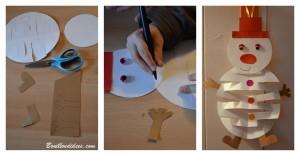 DIY Noël déco à suspendre bonhomme de neige en papier étapes Bouillondidees