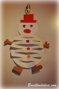 DIY Noël déco à suspendre bonhomme de neige en papier Bouillondidees