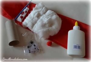 DIY Noël, père Noël en rouleau papier toilette matériel Bouillondidees