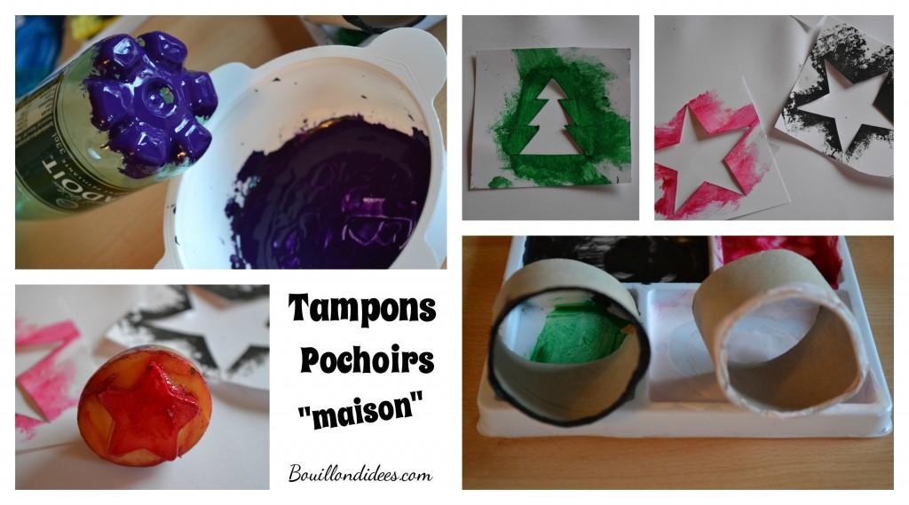 DIY Noël personnaliser le papier cadeau pochoirs tampons maison Bouillondidees