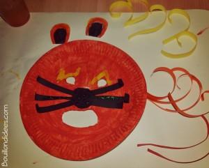 DIY Masque Lion Carnaval fête avec assiette carton collage étapes Bouillondidees