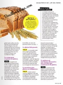Question de Femmes magazine article sans gluten 2