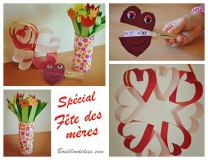 DIY fête des mères Bouquet de fleurs en papier , pince linge coeur, couronne de coeurs Bouillondidees