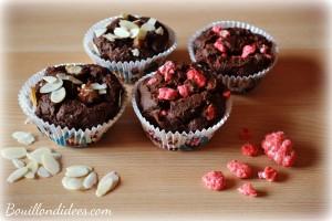 Mini gâteaux choco poires & pralines, sans GLO (farine châtaignes, noisettes) Bouillondidees