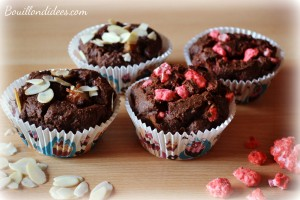 Mini gâteaux choco poires & pralines, sans GLO gluten, lait, oeufs (farine châtaignes, noisettes) Bouillondidees