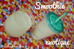 Smoothie Milkshake exotique sans GLO (gluten, lait, oeuf) - lait de coco, mangue, banane, orange Bouillondidees