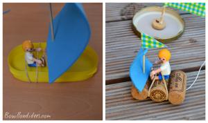 DIY bricolage enfant spécial été vacances extérieur bateaux sur l'eau (avec capitaine playmobil élastqiue) Bouillondidees