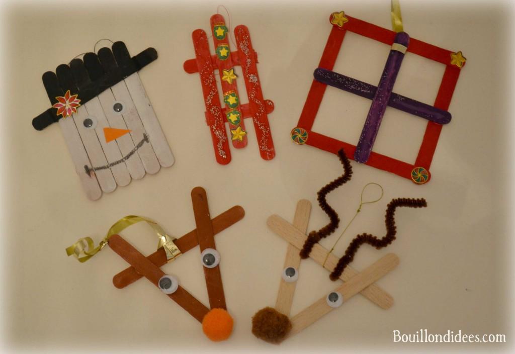 DIY déco sapin Noël bâtonnet de bois ou glace (bonhomme, rennes, cadeau, luge, ...) Bouillondidees