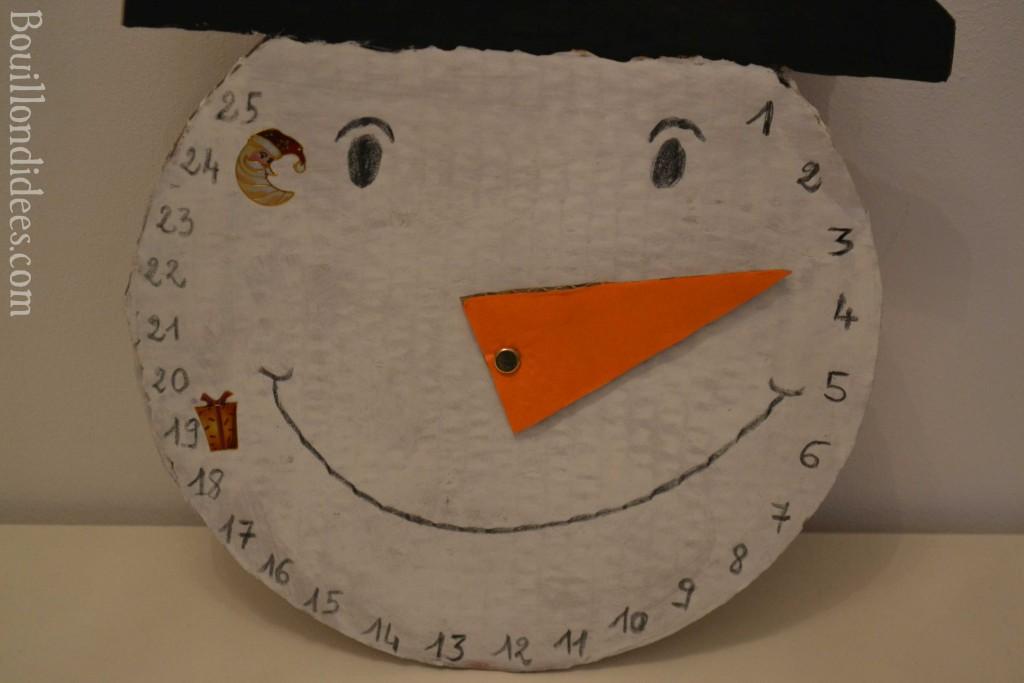 calendrier bonhomme de neige de l'avent DIY noël zoom Bouillondidees