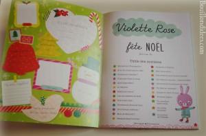 Idées lecture Cahiers d'activités pour attendre Noël Violette Rose fête Noël (Editions Père Castor) sommaire Bouillondidees
