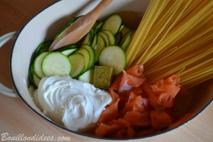 One pot Pasta Saumon courgette sans GLO (sans gluten, sans lait 2) Bouillondidees