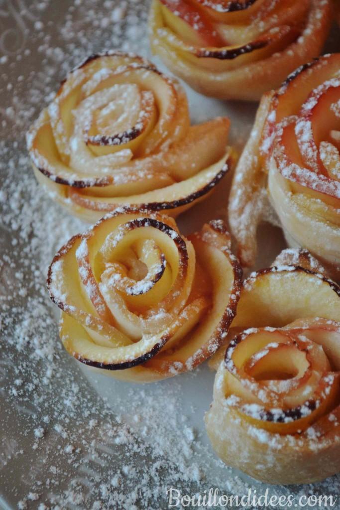 Roses feuilletées aux pommes (tartelettes avec ou sans gluten sans PLV sans Lactose) Bouillondidees