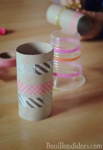 canons à pompons (DIY enfants pour carnaval, nouvel an, fêtes, 14 juillet) avec un ballongobelet ou rouleau papier toilette Bouillondidees
