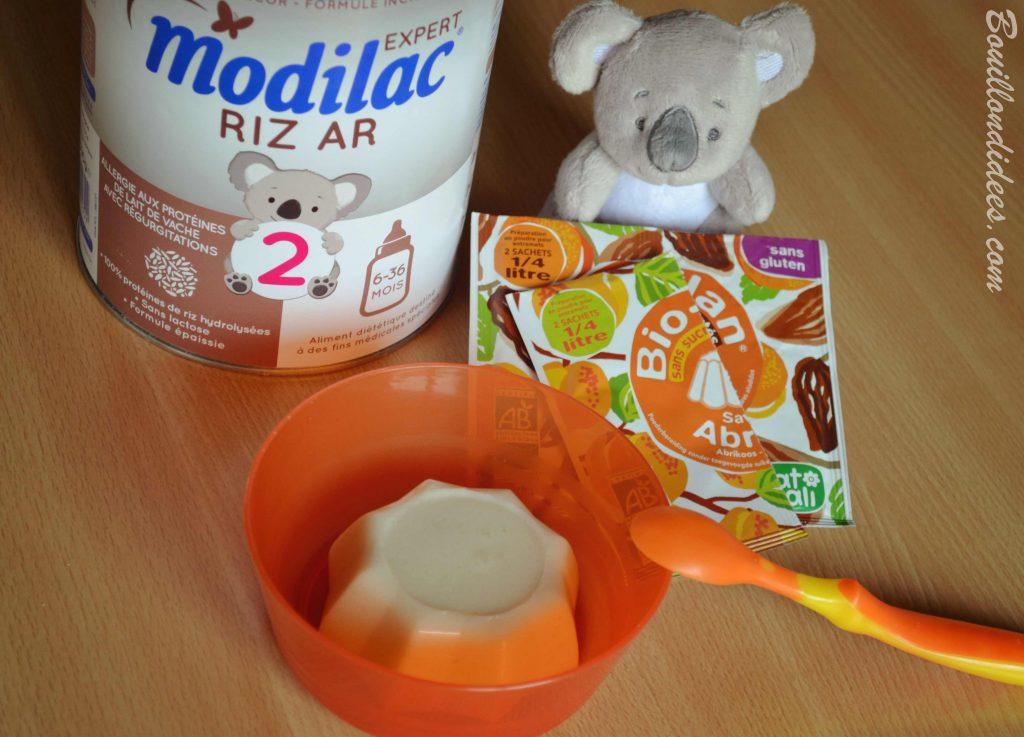 Desserts au lait infantile (Modilac Riz AR) pour bébé APLV IPLV, sans lait, sans gluten Bio-Flan Natali Bouillondidees