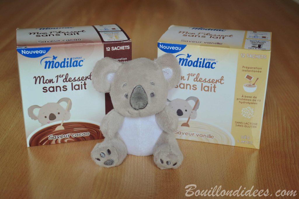 Desserts au lait infantile (Modilac Riz AR) pour bébé APLV IPLV, sans lait, sans gluten Mon premier dessert sans lait de Modilac Bouillondidees