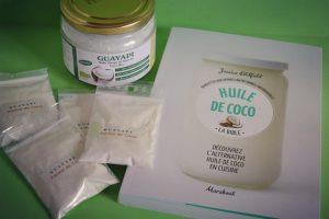 Gamme noix de coco de Guayapi et livre de recettes Huile de coco Marabout