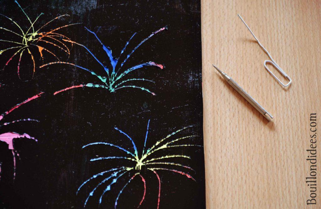 DIY fabriquer carte à gratter et feu d'artifice 14 juillet (craie grasse) Bouillondidees 2