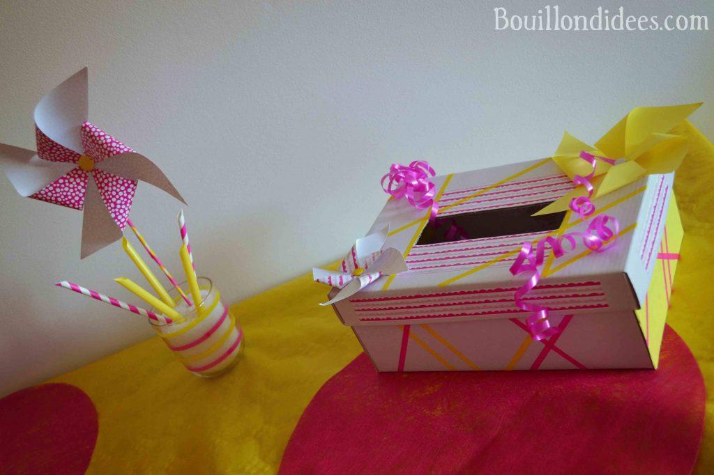 DIY fabriquer une déco de fête aux couleurs de l'été (jaune et fuschia)