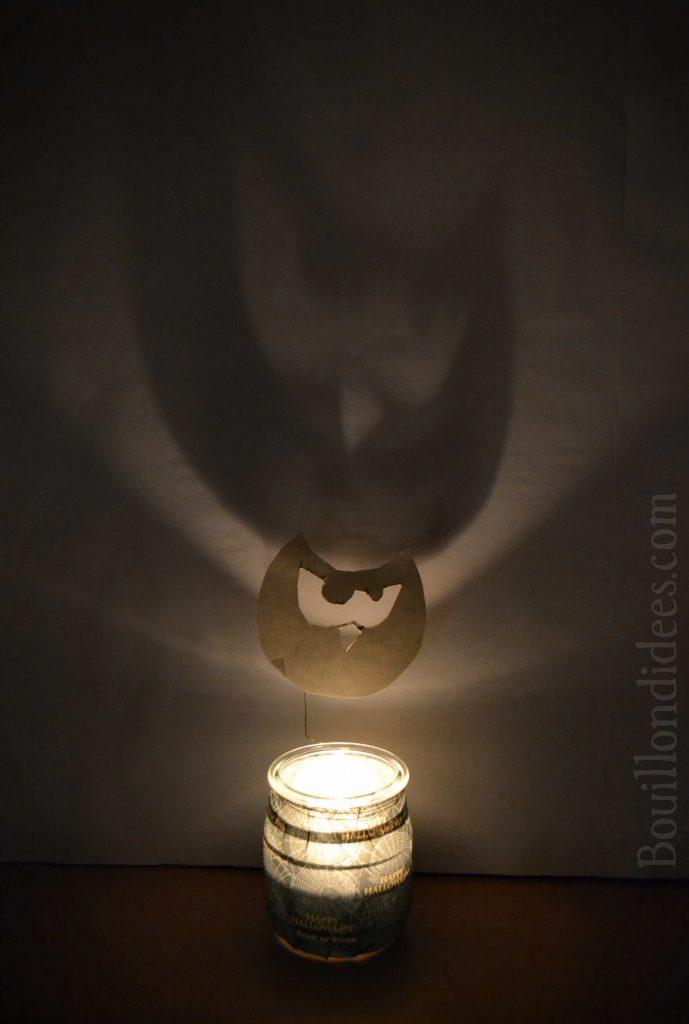 DIY Photophores d'Halloween aux ombres monstrueuses - chouette effrayante