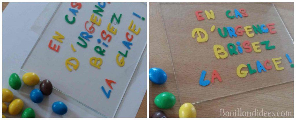 """Une idée de cadeau à bricoler : un cadre rempli de M&M's """"Brisez la glace en cas d'urgence"""" (DIY cadeau école maîtresse Atsem nounou)"""