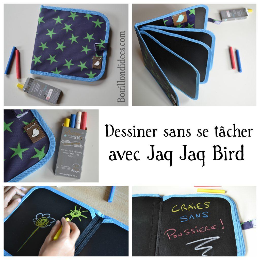 Dessiner sans se tâcher ... avec le cahier Jaq Jaq Bird et ses craies sans poussière (Test & Avis) cahier dessin enfants voyage