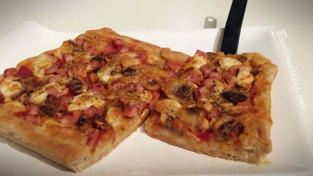 Pizza moelleuse sans GLO (sans gluten, sans lait, sans œuf) Mix PIzza BMD sans gluten - blog Bouillon d'idées