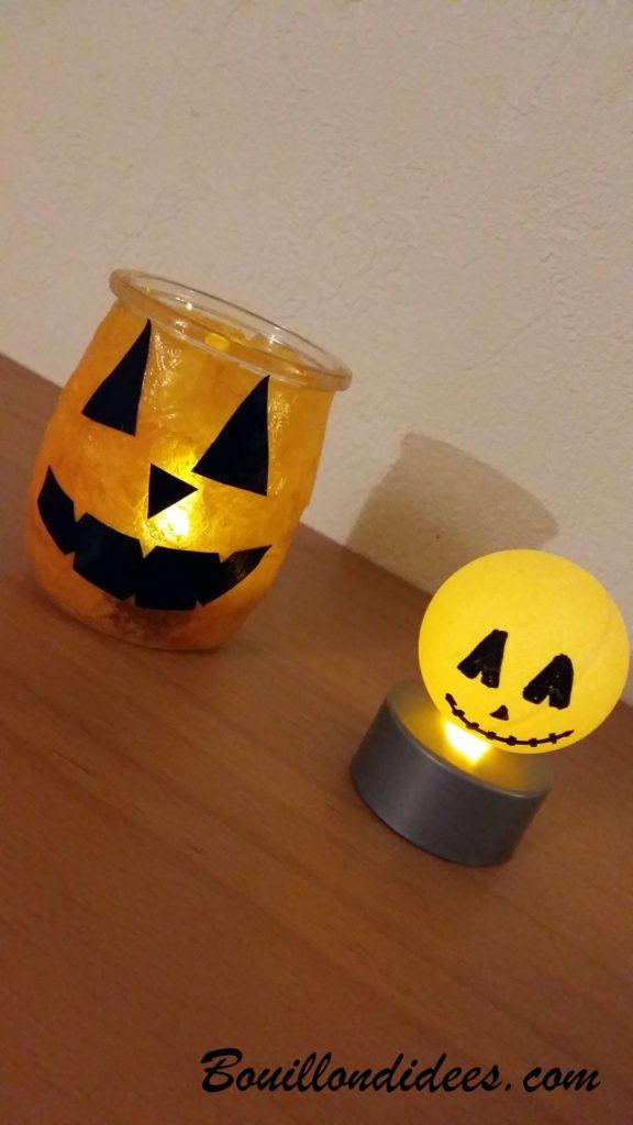 Fabriquer des monstres lumineux pour Halloween avec des balles de ping-pong et verres