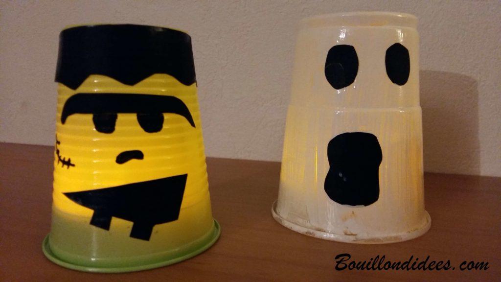 Fabriquer des monstres lumineux pour Halloween avec des verres gobelets et bougies Led