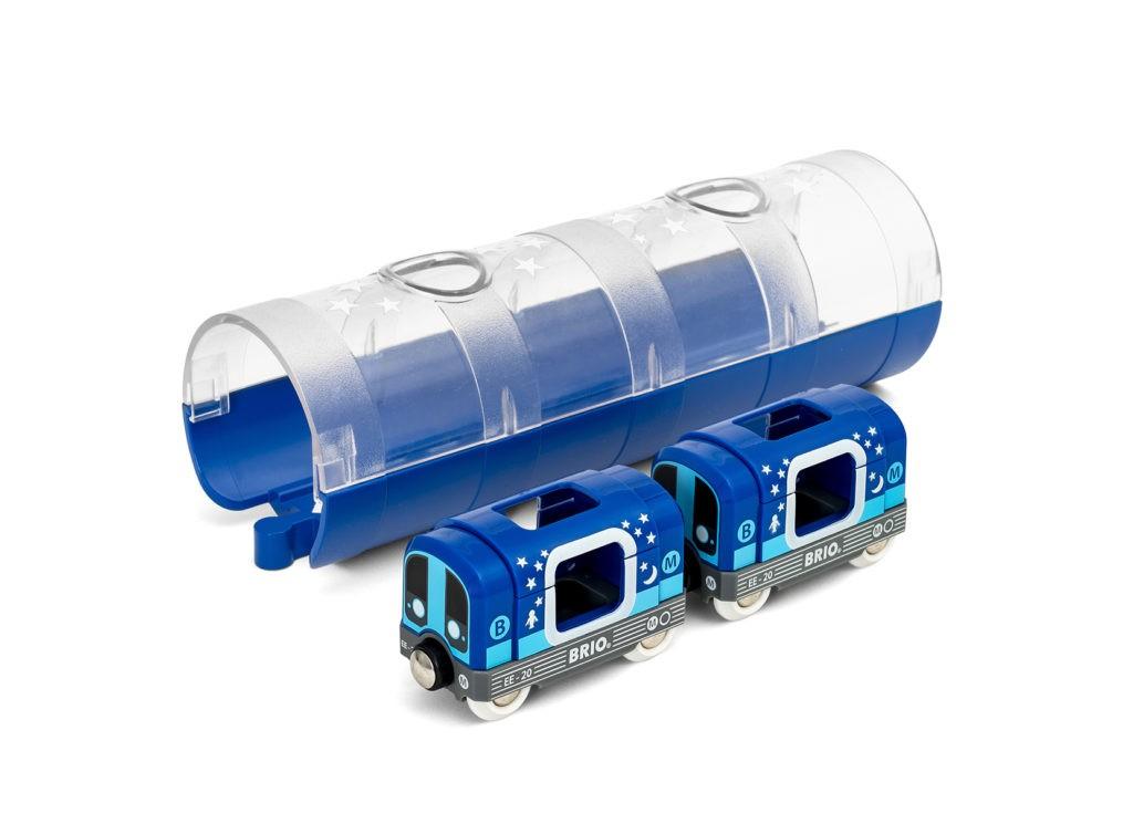 métro et son tunnel phosphorescents Brio