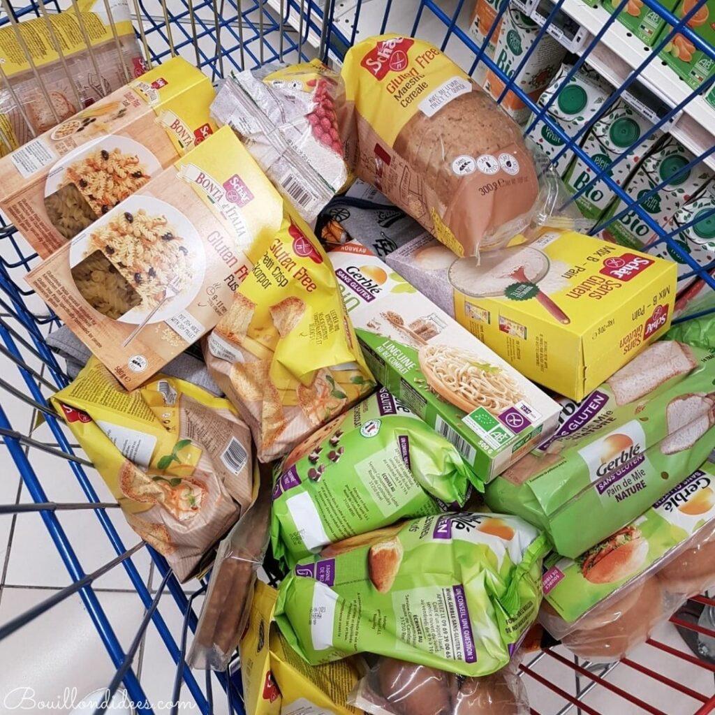 Courses sans gluten au supermarché