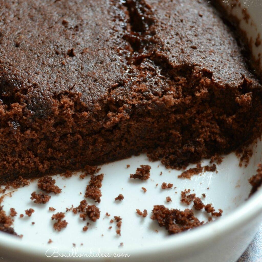 Gâteau express au micro-ondes, au chocolat sans gluten, sans lait et sans œufs (sans GLO)